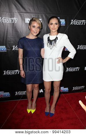 LOS ANGELES - AUG 19:  Tina Majorino, Alyson Stoner at the 2015 Industry Dance Awards and Cancer Benefit Show at the Avalon on August 19, 2015 in Los Angeles, CA