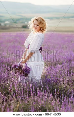 Beautiful woman in a field of blossoming lavender