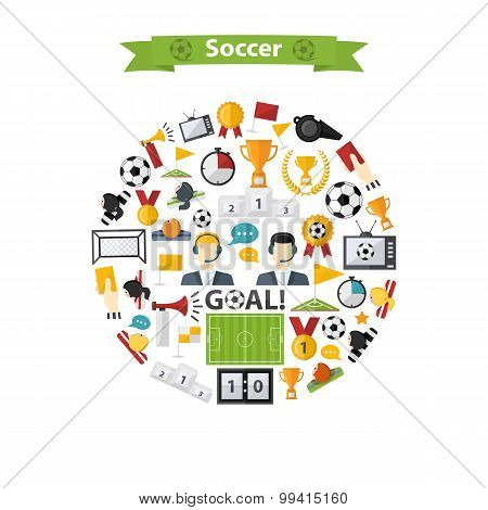 Vector Soccer Icons set in circle