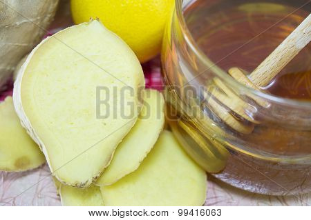 Ginger Root, Honey And Lemon. Healthy Food Background