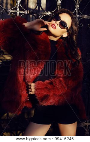Beautiful Woman With Dark Hair Wearing Luxurious Fur Coat