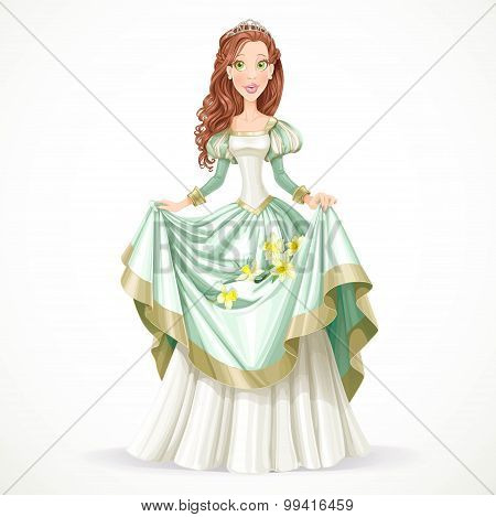 Beautiful Princess With Brown Hair Holds In Her Dress Daffodils