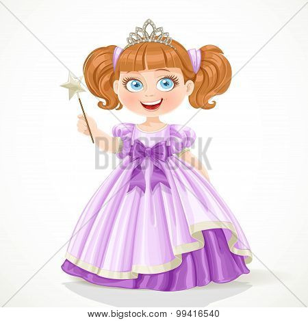 Cute Little Princess In Purple Dress And Tiara Holding Magic Wan
