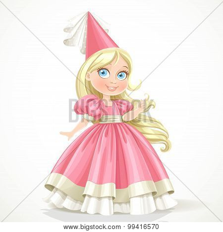 Little Princess In A Pink Dress With Long Blond Hair Isolated On