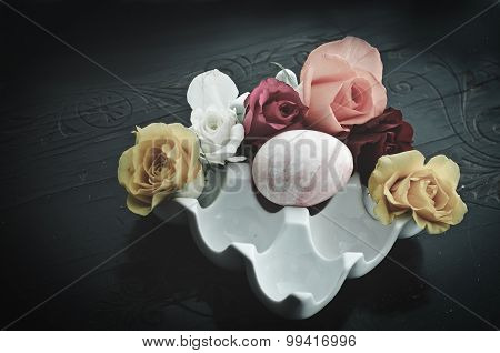Easter Decoration With Roses - Nostalgic Filtered Look