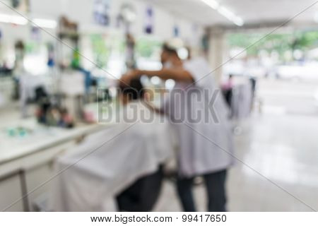 Blur Image Of People At Haircut Shop