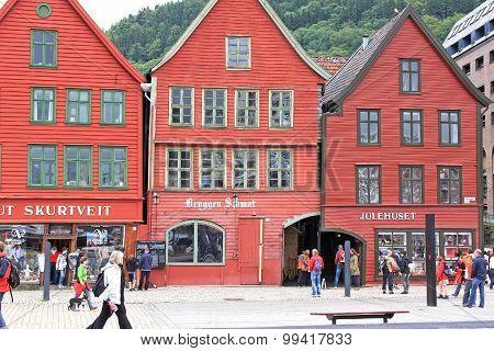 Hanseatic Buildings Of Bryggen, A World Heritage Site. Bergen, Norway