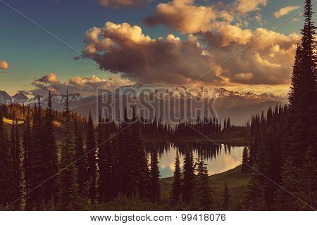 Image lake and Glacier Peak in Washington,USA