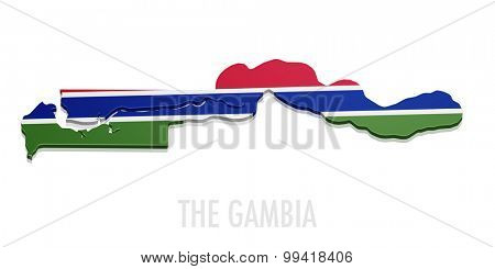 detailed illustration of a map of The Gambia with flag, eps10 vector