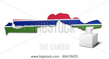 detailed illustration of a ballotbox in front of a map of The Gambia, eps10 vector