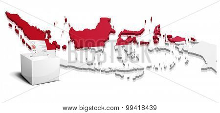 detailed illustration of a ballot box in front of a map of Indonesia, eps10 vector