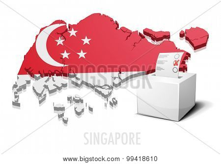 detailed illustration of a ballotbox in front of a map of Singapore, eps10 vector