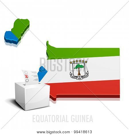 detailed illustration of a ballot box in front of a map of Equatorial Guinea, eps10 vector