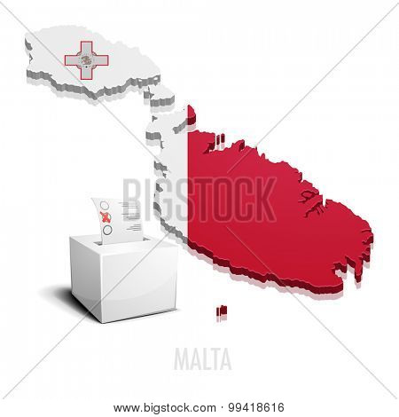 detailed illustration of a ballot box in front of a map of Malta, eps10 vector