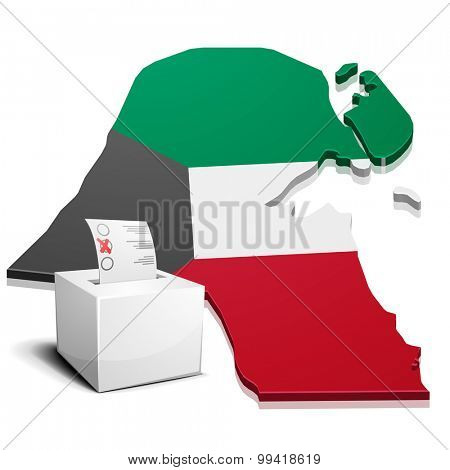 detailed illustration of a ballotbox in front of a map of Kuwait, eps10 vector