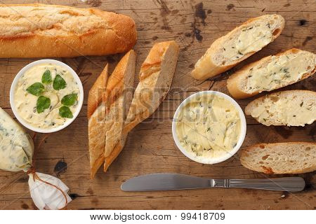 Garlic Bread Compound Butter Herb Baguette Thyme Rosemary Coriander Oregano