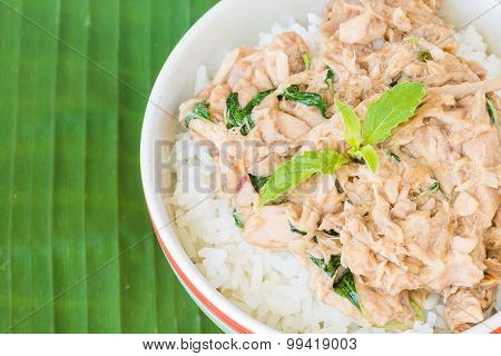 Stir-Fried Tuna with basil leaf