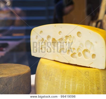 Head cut cheese in the market