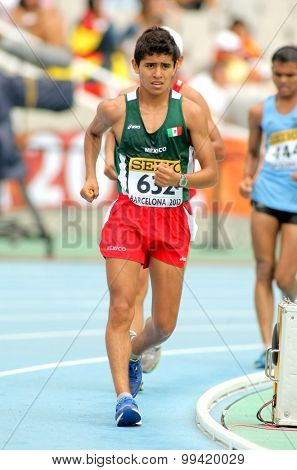 BARCELONA - JUNE, 13: Erwin Gonzalez of Mexico during 10000 metres race walk event of of the 20th World Junior Athletics Championships at the Olympic Stadium on July 13, 2012 in Barcelona, Spain