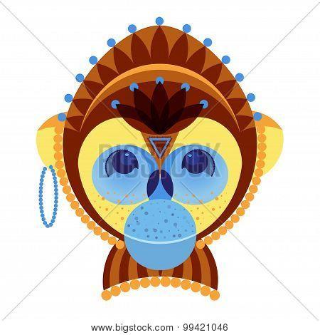 Head Of Monkey, Decorative Geometric Stylization