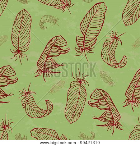 Ethnic Seamless Pattern With Handdrawing Feathers. Vector Illustration