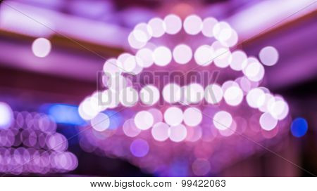 Image Of Blur Chandelier With Bokeh In Purple Light Tone