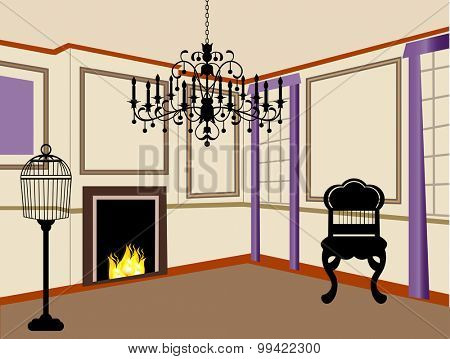 old-fashioned living room with fire in fireplace chandelier furniture