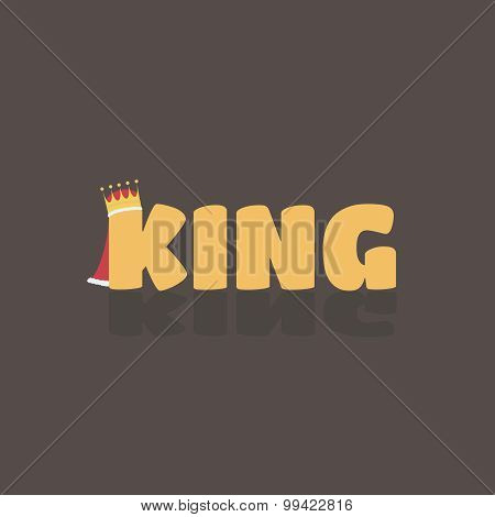 Vector illustration of king text where K have a crown and red cloak