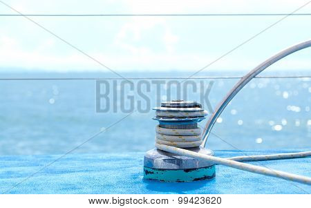 Sailboat Winch And Rope Yacht Detail With Selective Focus.