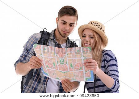 Pair of travelers with map isolated on white
