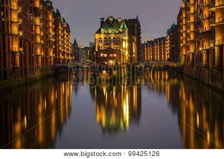 The old Speicherstadt in Hamburg