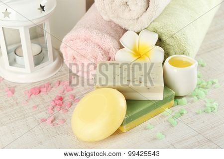 Spa treatments on light background