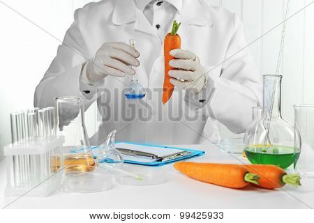 Scientist examines carrots in laboratory