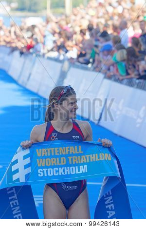 Sarah True Is Happy After Winning The Triathlon Competition