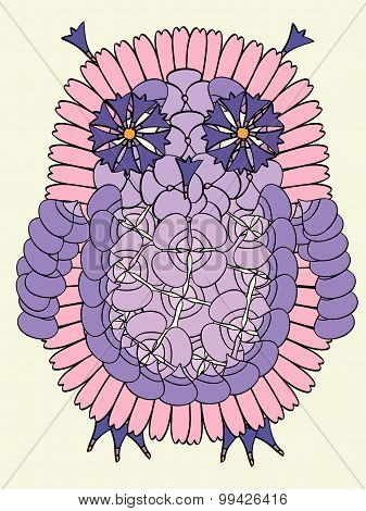 Owl bird made from fresh summer flowers.