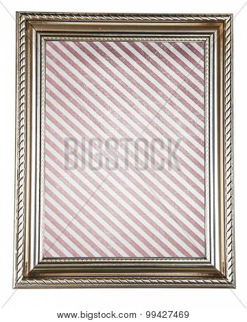 Old frame with striped canvas isolated on white