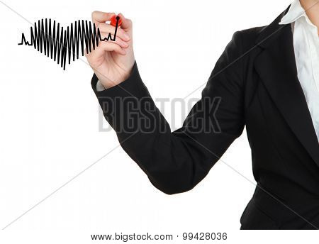 Woman drawing heart isolated on white