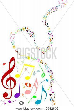 musikalische Untermalung mit farbigen Music notes