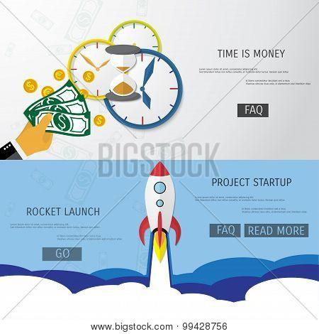 Vector flat rocket web icon.