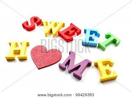 Decorative letters forming words SWEET HOME with heart isolated on white