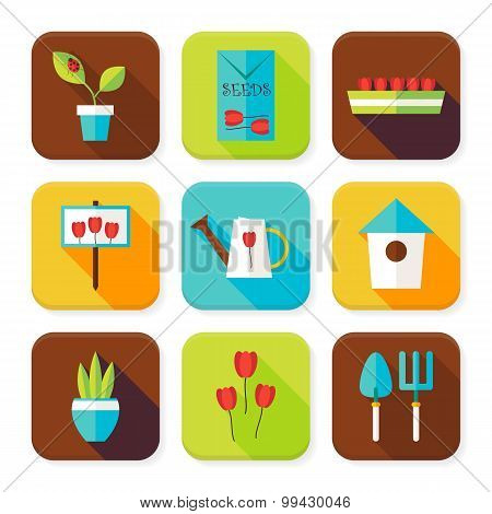Flat Gardening And Flowers Squared App Icons Set