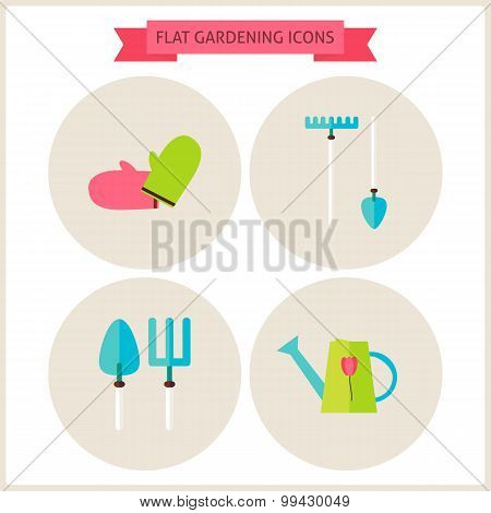 Flat Gardening Website Icons Set