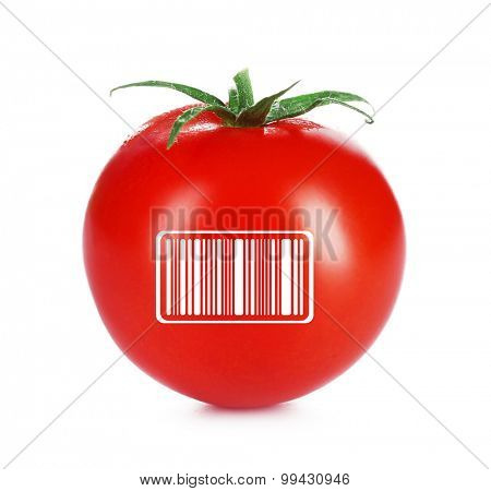 Fresh tomato with barcode isolated on white