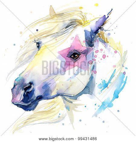white horse illustration with splash watercolor textured background.