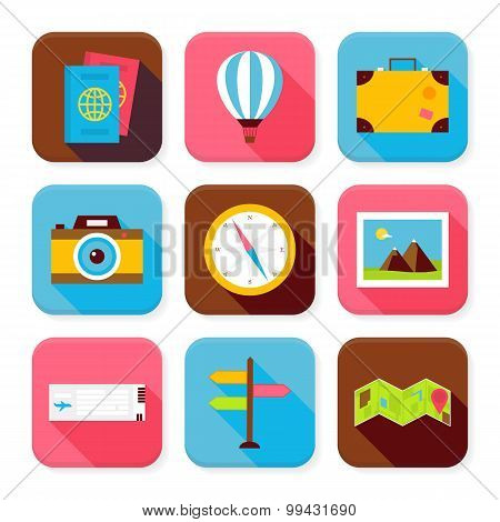 Flat Travel And Vacation Squared App Icons Set