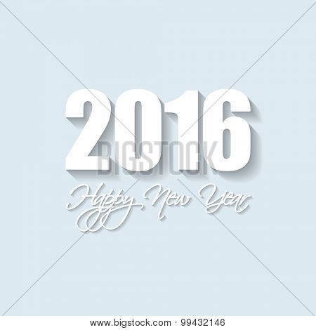 Vector Modern simple Happy new year card (2016) with a long shadow effect