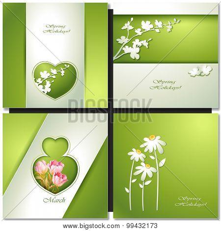 Summer flowers invitation template card.