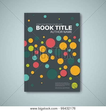 Modern dark Vector abstract brochure / book / flyer design template with color circles