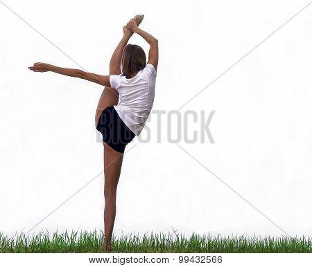 Yogi Beautiful Girl On The Grass Isolated