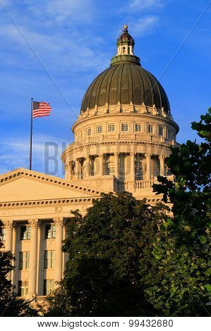 Utah State Capitol With Warm Evening Light, Salt Lake City